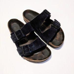 Birkenstock  Arizona Dark Navy Suede Buckle Sandal